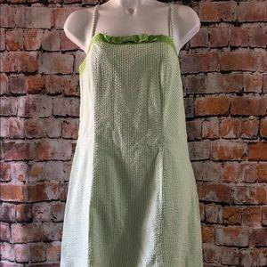 Isaac Mizrahi Size 14 Dress Green-White Seersucker